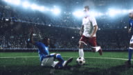 Soccer player makes a dramatic play