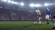 Soccer player makes a kick
