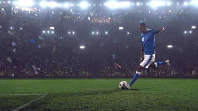 Soccer player makes a kick