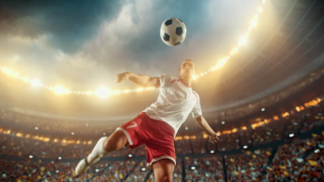 Soccer: Professional player makes a strong kick