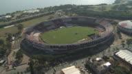 A soccer stadium borders the coast of Porto Alegre, Brazil.