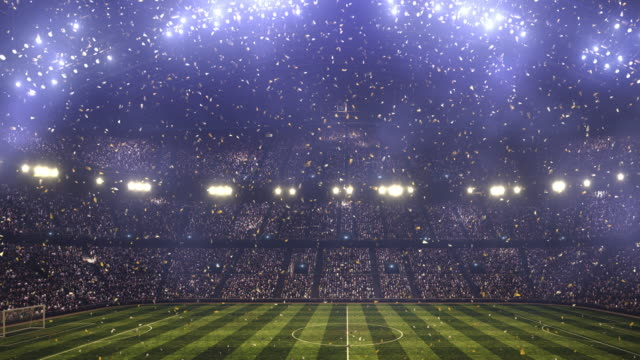Soccer stadium confetti and lights