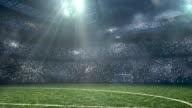 Soccer stadium under dramatic sky