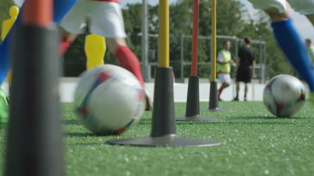 Soccer training on playing field