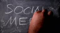 Social media written on blackboard