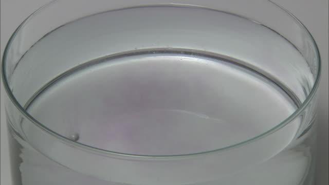 Sodium metal reacting with water.