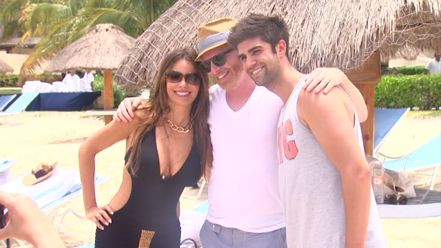 Sofia Vergara Jesse Tyler Ferguson and Justin Mikita celebrate her 40th Birthday in Cozumel Mexico 07/06/12