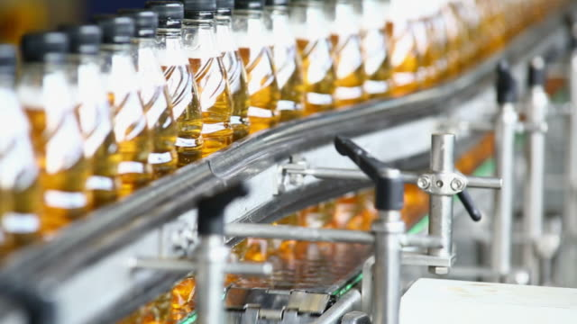 Soft Drink Bottling Line Close-up