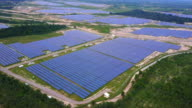 Solar farm, solar panels from above