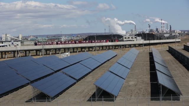 Solar panels at the Kushiro Hoshigaura SolarWay solar photovoltaic power plant operated by Kokusai Kogyo Holdings Co a unit of Japan Asia Group in...