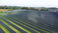 Solar Power Plant Aerial Flyover Shot