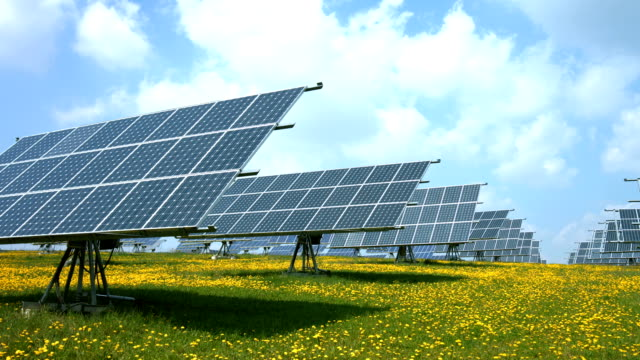 PAN Solar Power Station With Flexible Panels in Spring (4K/UHD to Full HD)
