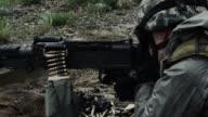 Soldier firing a belt-fed machine gun from a sitting position.