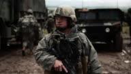 Soldier looking around