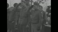 US soldiers and officers of 5th US Army standing in formation salute Gen Mark Clark newly appointed Supreme Commander of Allied Armies in Italy and...