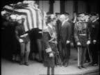 B/W 1923 soldiers carry President Warren G Harding's casket to hearse / San Francisco
