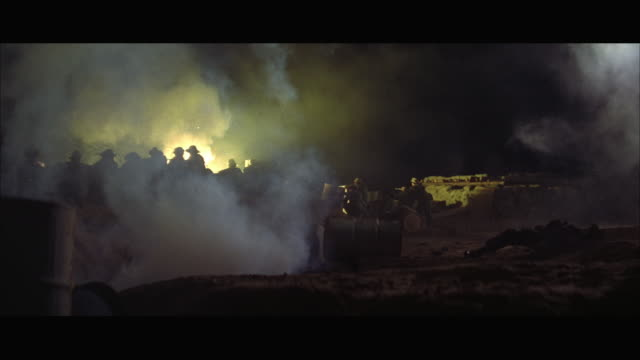WS Soldiers firing and falling back during camp battle