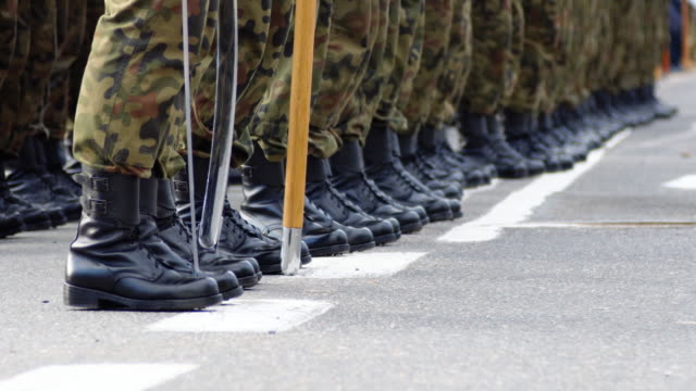 Soldiers in formation during military ceremony