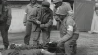 Soldiers of the 442nd Infantry Regiment and medic of 3rd Medical Battalion wrapping bandage on wounded soldiers leg / Bruyeres France