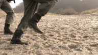 soldiers running on sand steadycam HD