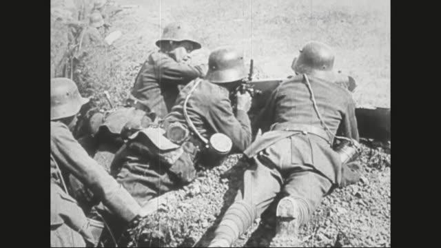 Soldiers running onto battlefield