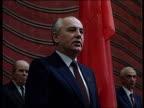 Solemn ceremony CPSU Party Congress March 11 1990 Gorbachev's speech takes the oath as President of the Soviet Union Ruslan Khasbulatov standing near...