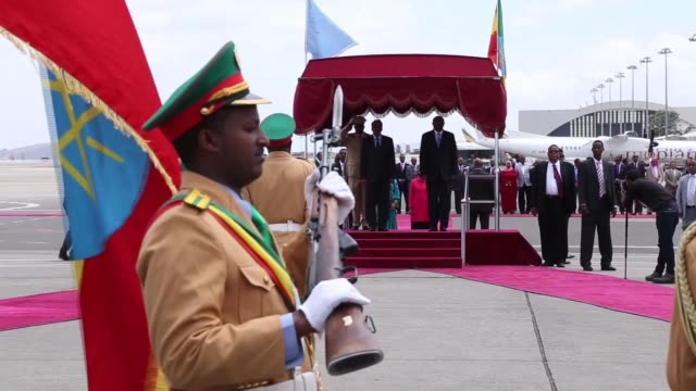 Somali President Mohamed Abdullahi Farmajo is welcomed by Ethiopian Prime Minister Hailemariam Desalegn upon his arrival at Addis Ababa Bole...