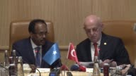 Somali President Mohamed Abdullahi Mohamed Farmajo meets with Turkish Parliament Speaker Ismail Kahraman at the Grand National Assembly of Turkey in...