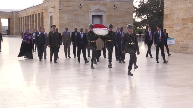 Somali Prime Minister Hassan Ali Khayre on October 27 2017 paid tribute to Turkey's founder Mustafa Kemal Ataturk at his mausoleum the Anitkabir in...
