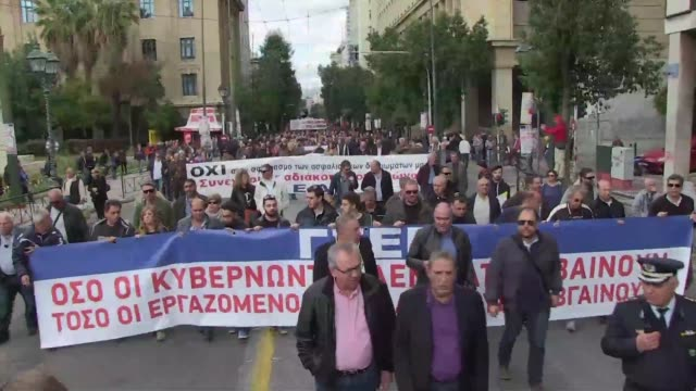Some 15000 people demonstrate in Athens as unions hold a general strike against a planned social security overhaul the second walkout in less than a...