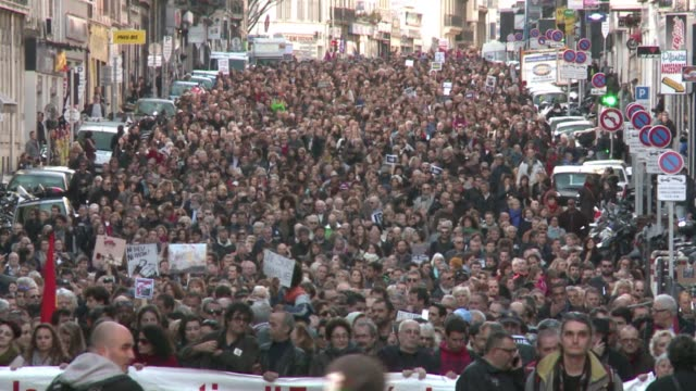 Some 45000 march the streets of Marseille to call for democracy equality and freedom following attacks on Charlie Hebdo and two sieges that led to...