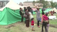 Some of displaced people are packing up from a Nepalese Army camp to go home saying their children are getting sick