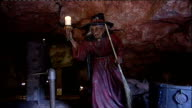 Somerset Wookey Hole EXT Group of women cackling at auditions to find the next Wookey Hole Cave witch SOT Women dressed as witches and cackling SOT...