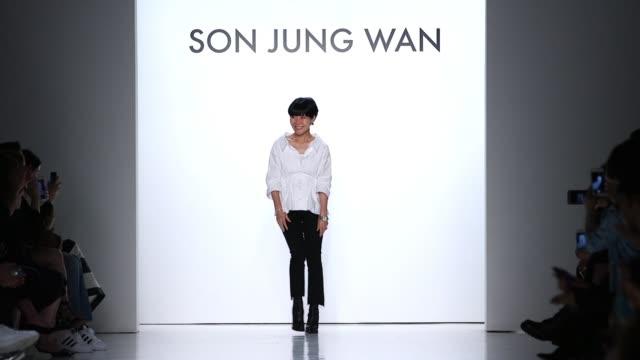 Son Jung Wan walks the runway at Son Jung Wan Runway September 2017 New York Fashion Week at Skylight Clarkson Sq on September 09 2017 in New York...