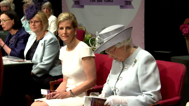 Sophie Countess of Wessex Queen Elizabeth II and Anne Princess Royal take their seats on stage and listen as Janice Langley NFWI Chair takes to the...