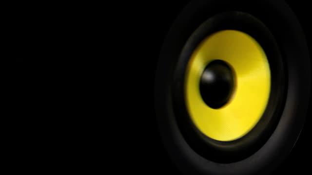 Sound-system ausgestattet. Bass Lautsprecher, Nahaufnahme.