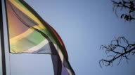 MS SLO MO South African Flag moving in the wind/ KwaZulu-Natal/ South Africa