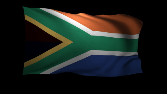 CGI South African flag waving against black background