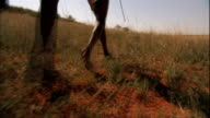South African hunters run through the savanna.