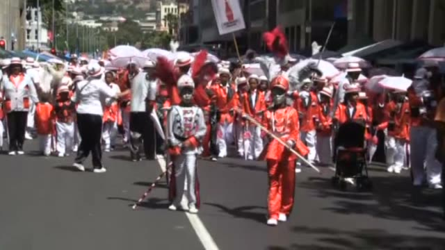 South Africans attend the annual 'Tweede Nuwe Jaar' carnival at the Castle of Good Hope in Cape Town South Africa on January 02 2016 South African...