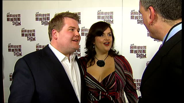 Celebrity arrivals James Corden and Ruth Jones posing with award/ 'Gavin and Stacey' cast photograph including Rob Brydon and Alison Steadman/ James...