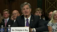 South Carolina Senator Lindsey Graham engages nominee for director of the Federal Bureau of investigation Christopher Wray about reporting on any...