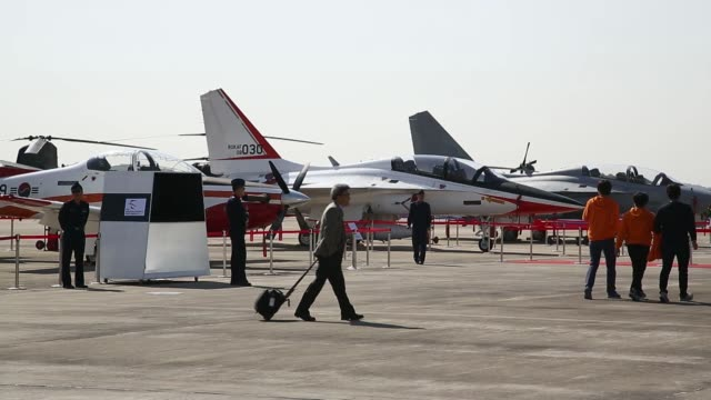 A South Korean Air Force trainer jet stands on display during the Cheongju International Airport Air Show on the sidelines of the Seoul International...