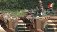 South Korean marines train with amphibious assault vehicle near the DMZ border