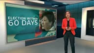 South Korean President Park Geunhye ousted from office by court after impeachment ENGLAND London GIR INT Reporter to camera at GRAPHICS wall