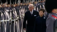 South Korean President Park Geunhye state visit Horse Guards Parade ceremonial welcome Various of Park Geunhye accompanied by Prince Philip...