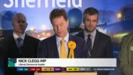 Sheffield Hallam Nick Clegg stands other candidates as returning officer reading declaration Nick Clegg acceptance speech SOT It is now painfully...