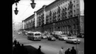 / Soviet propaganda film commemorating Yuri Gagarin's first manned space flight montage cityscapes of Moscow London Paris and Rome Russian watch...