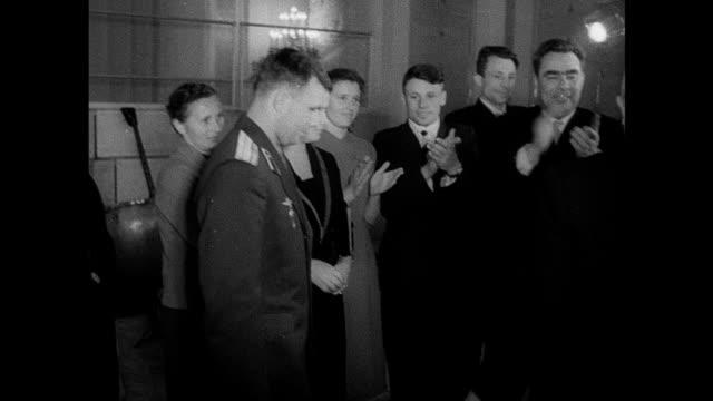 / Soviet propaganda film commemorating Yuri Gagarin's first manned space flight gala reception in the Kremlin Nikita Khrushchev and other Communist...