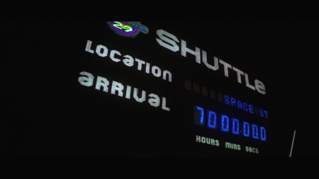 CU PAN Space shuttle arrival departure board showing time in space station